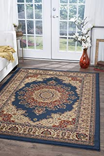Fiona Traditional Oriental Navy Rectangle Area Rug, 9' x 12'