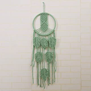 "Macrame Wall Hanging Green Woven Tapestry Bohemian Home Decor -Wedding Apartment Decoration Studio Interior Wall Art - Office Living Room Bedroom Nursery Decorations Dream Catcher 10""W X 32""L(Green)"