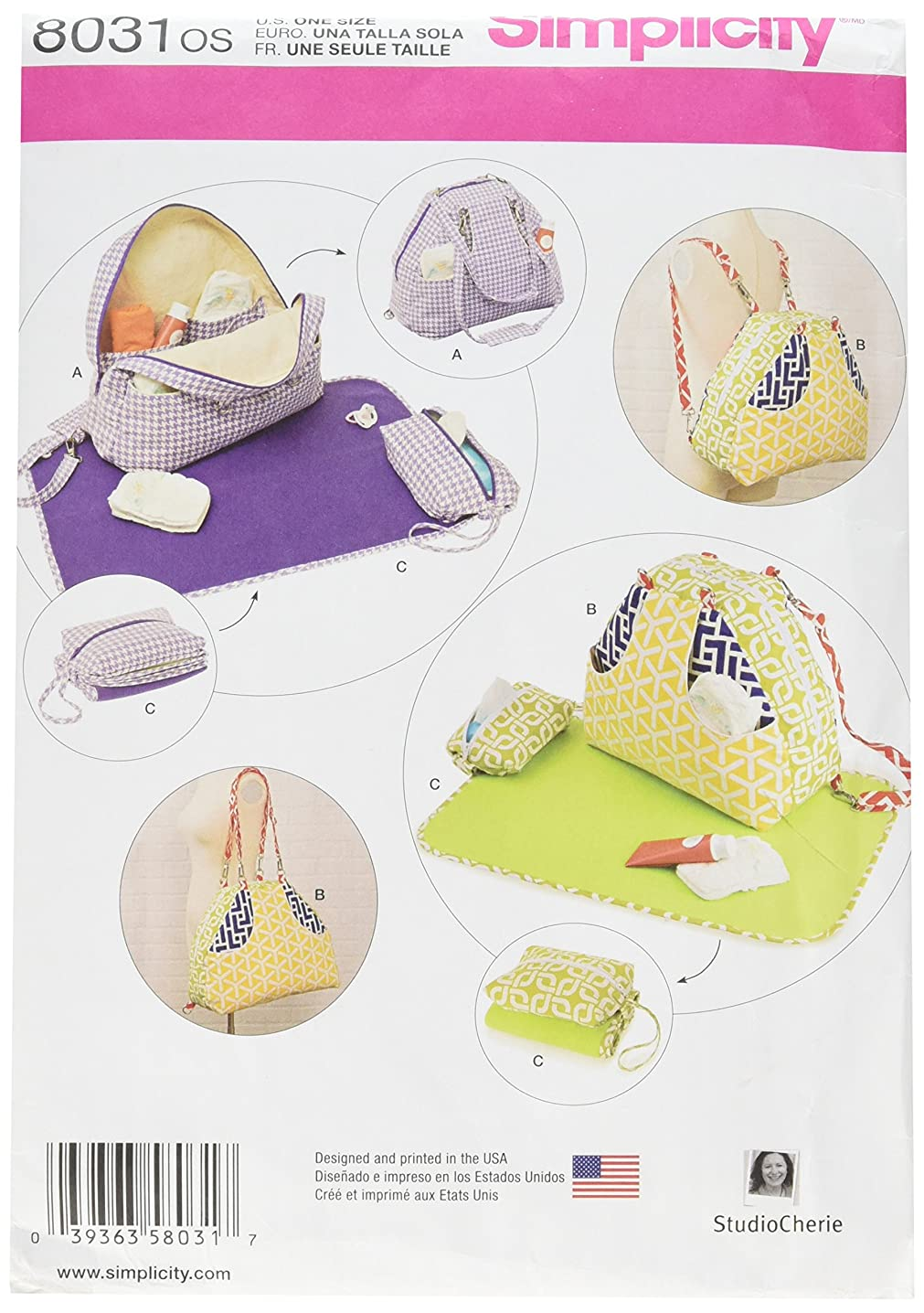 Simplicity Patterns Convertible Diaper Bags Changing Pads Size: Os (One Size), 8031