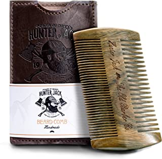 Beard Comb Kit for Men - Great for Head Hair, Beard & Mustache - Handmade Premium Sandal Wood - Fine Dual Action Teeth - Comes with Gift