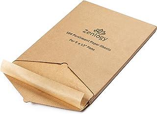 Zenlogy 9x13 (100 Pcs) Unbleached Parchment Paper Sheets for High Heat Baking - Exact Fit for Your Quarter Sheet Pans with Convenient Pullout Storage Box