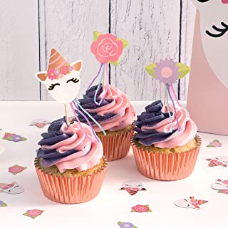 Unicorn Theme Cupcake Kit 48 Cases with 24 Picks of 4 Designs per Pack