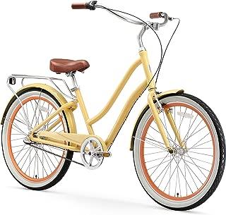 sixthreezero EVRYjourney Women's 3-Speed Step-Through Hybrid Alloy Cruiser Bicycle, Cream w/Brown Seat/Grips, 26