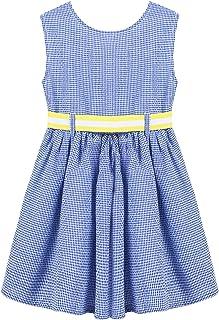 Balasha Girls Sleeveless Dress Cotton Plaid Striped Casual Summer Dresses 2-7 Years