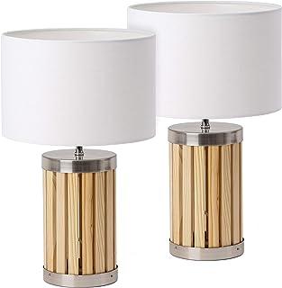 BRUBAKER - Lampe de table/de chevet - Lot de 2 - Design moderne - Hauteur 41 cm - Pied en Bois & Métal - Abat-jour en Tiss...