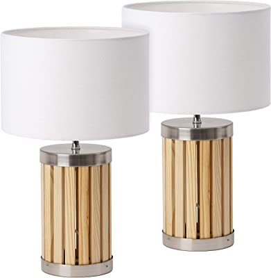 Juego de 2 lámparas de mesa o de noche BRUBAKER - altura 33 ...
