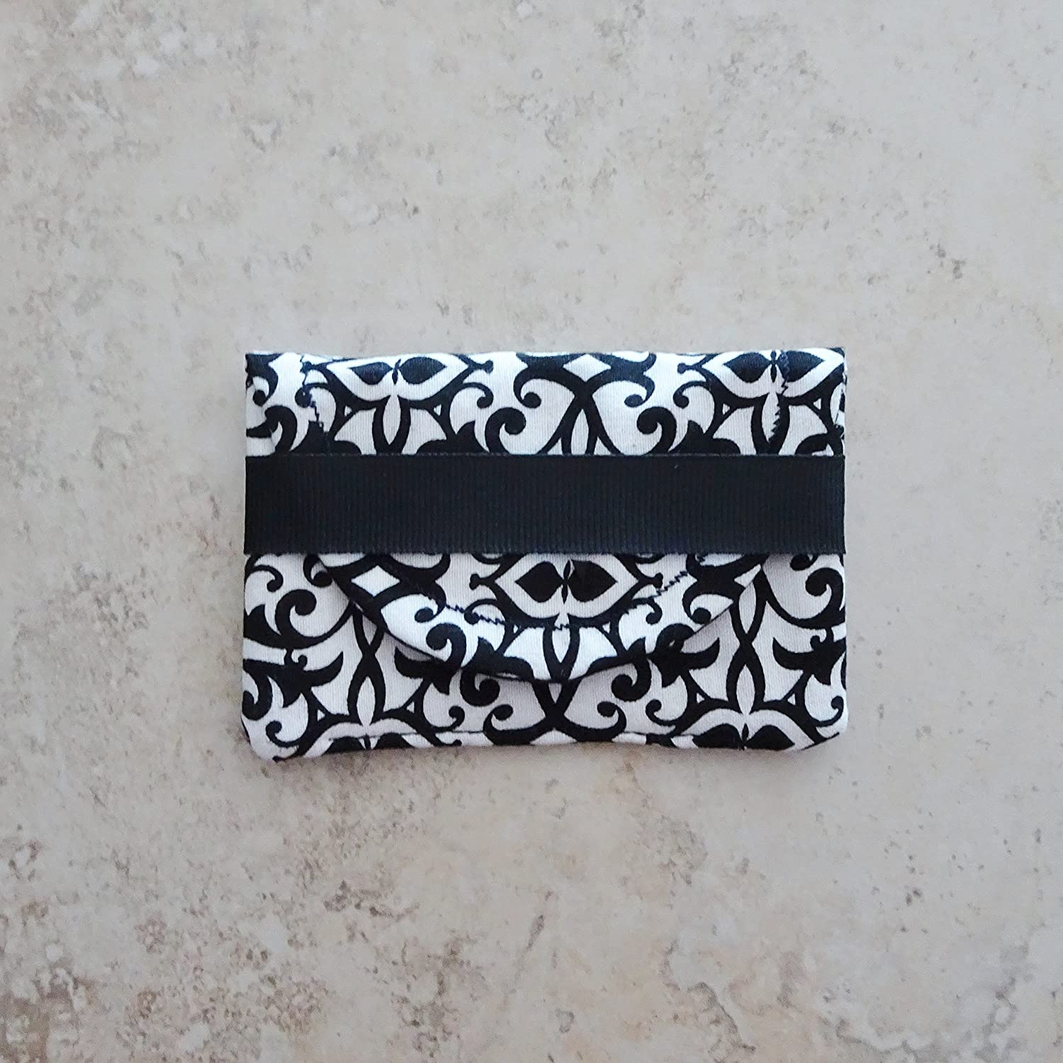 Limited time sale Business Card Case San Francisco Mall - Black and White Fabric Car Gift card
