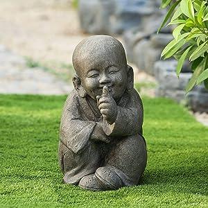 Quiet Little Buddha Garden Statue Brown Oriental Polyresin