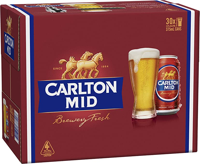 Carlton Mid Strength Beer Cans, 375 ml (Pack Of 30)