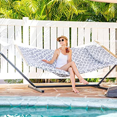 SUNCREAT 55 Inch Extra Large Double Hammock with Stand, 475lbs Capacity, Outdoor Portable Hammock with Hardwood Spreader Bar,