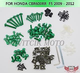 VITCIK Full Fairings Bolt Screw Kits for Honda CBR600RR F5 2009 2010 2011 2012 CBR 600 RR F5 09 10 11 12 Motorcycle Fastener CNC Aluminium Clips (Green)