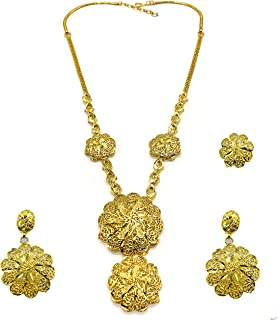 Modern Arabic Bridal 24k Gold-plated Jewelry Set -Necklace Earrings and Finger-ring - Nickel Free