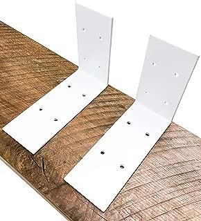 Industrial Forged Steel Floating Shelf L/J Bracket by DIY CARTEL - Heavy Duty Extra Wide Rustic Shelf Brackets - 2 Pack Wall Mount (Powder Coat White)
