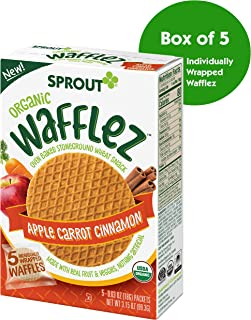Sprout Organic Wafflez Toddler Snacks, Apple Carrot Cinnamon, 5 Count Box of Individually Wrapped Waffles