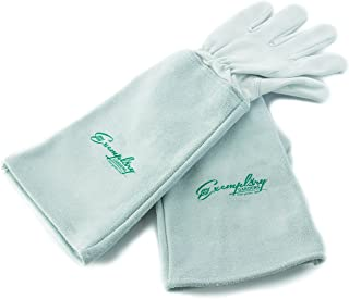 Rose Pruning Gloves for Men and Women. Thorn Proof Goatskin Leather Gardening Gloves with Long Cowhide Gauntlet to Protect Your Arms Until The Elbow (Medium)