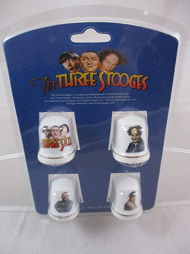 The Three Stooges Porcelain Thimble Collector Set of 4
