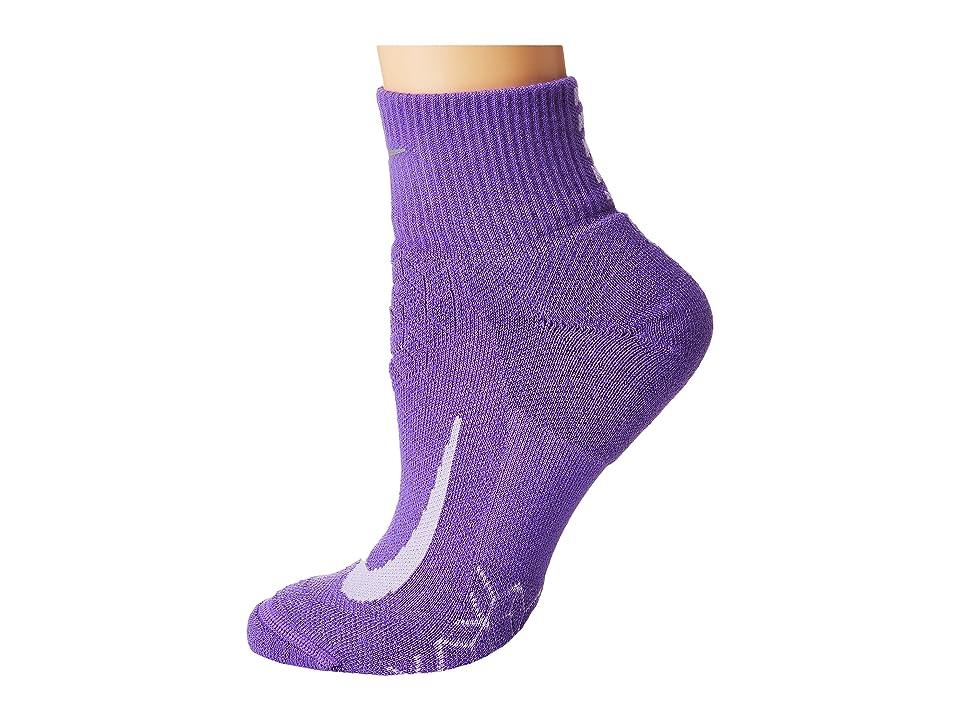 Nike Elite Cushion Quarter Running Socks (Action Grape/Purple Agate) Quarter Length Socks Shoes