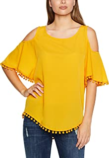 French Connection Women's Cold Shoulder POM TEE TUMERIC