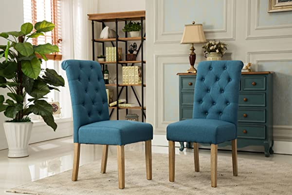Roundhill Furniture Habit Solid Wood Tufted Parsons Dining Chair Set Of 2 Blue