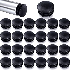 ANCIRS 25 Pack 25mm/1inch Dia Round Plastic End Caps for Tube Pipe Protector, Chair End Caps Cover,Tubing Plug Cap, Post End Insert for Table Furniture Legs Glide Prevention-Black