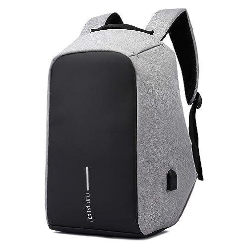 dd34baef4546 Fur Jaden Grey Anti Theft Casual Waterproof Backpack Bag with USB Charging  Point