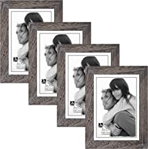 Malden International Designs Linear Ridge Picture Frame, 5x7, Gray, 4 Pack