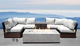 Living Source International Fire Pit Patio Set Wicker Patio Resort Grade Furniture Sofa Set for Garden, Backyard, Porch, Pool with Firepit and Back Cushions (Brown)