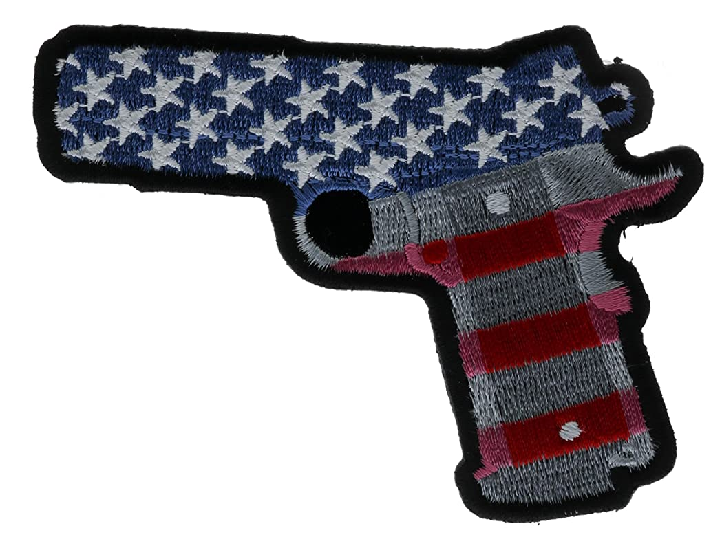 USA Flag Colt 45 Pistol Embroidered Patch Left 4 inch IVAN5246