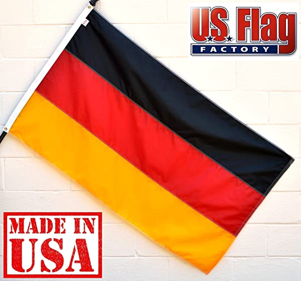 US Flag Factory 4x6 FT Germany German Flag Sewn Stripes Grommets Outdoor SolarMax Nylon 100 Made In America Premium Quality 4x6 FT