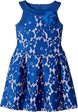 Sleeveless Lace and Scuba Drop Waist with A Pleat Skirt (Toddler/Little Kids)