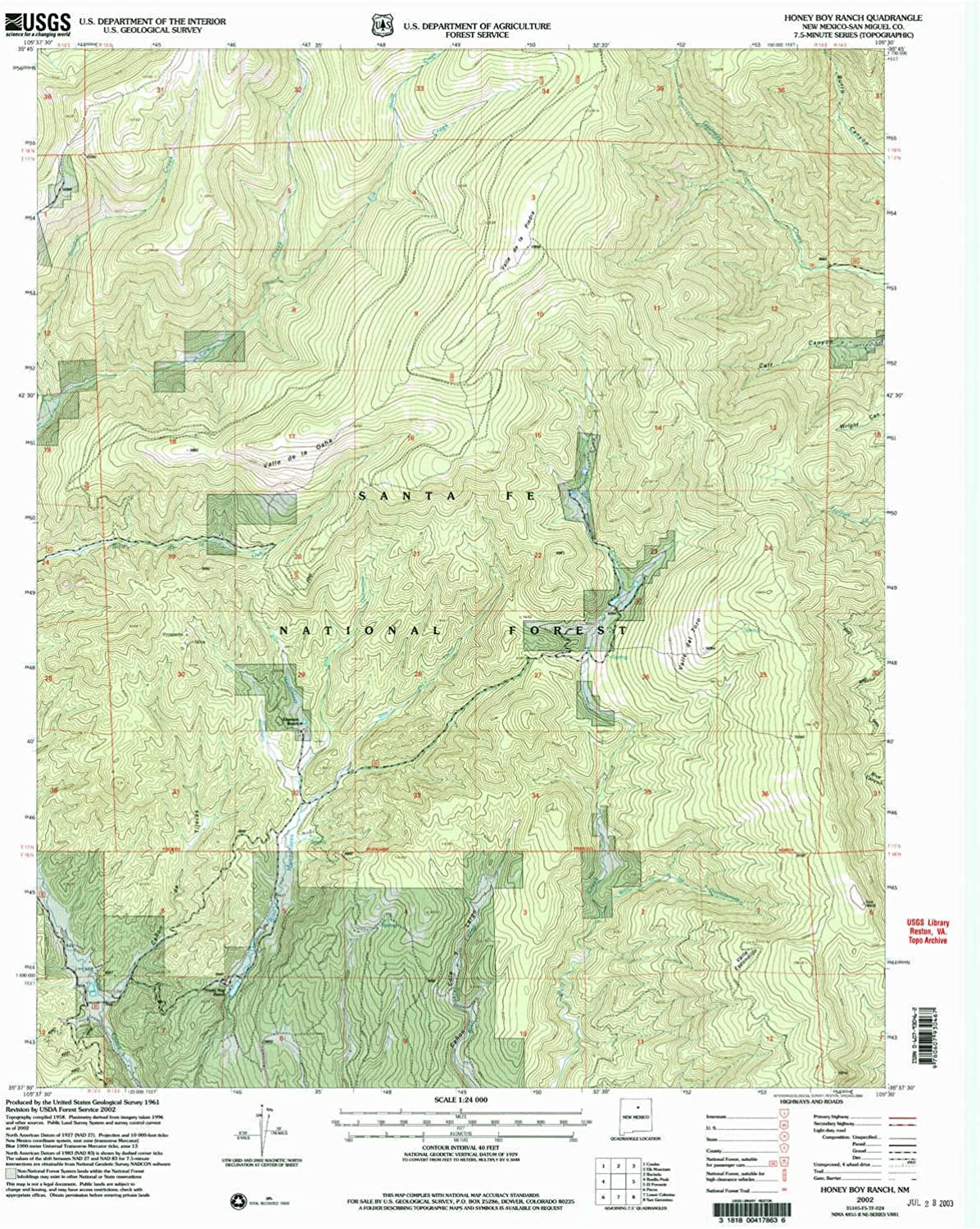 Honey Boy Ranch NM topo map, 1 24000 Scale, 7.5 X 7.5 Minute, Historical, 2002, Updated 2003, 27 x 22 in