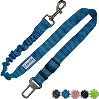 Zenify Dog Car Seat Belt Seatbelt Lead Puppy Harness - Extendable Bungee Adjustable Carseat Clip Buckle Leash for Dogs Puppies Pets Travel - Pet Safe Collar Accessories Supplies Truck Safety (Blue)