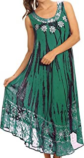 Alexis Embroidered Long Sleeveless Floral Caftan Dress/Cover Up