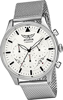 AVIATOR Chronograph Watch for Mens - Aviators Waterproof Vintage Watches - Steel Mesh Milanese Bracelet