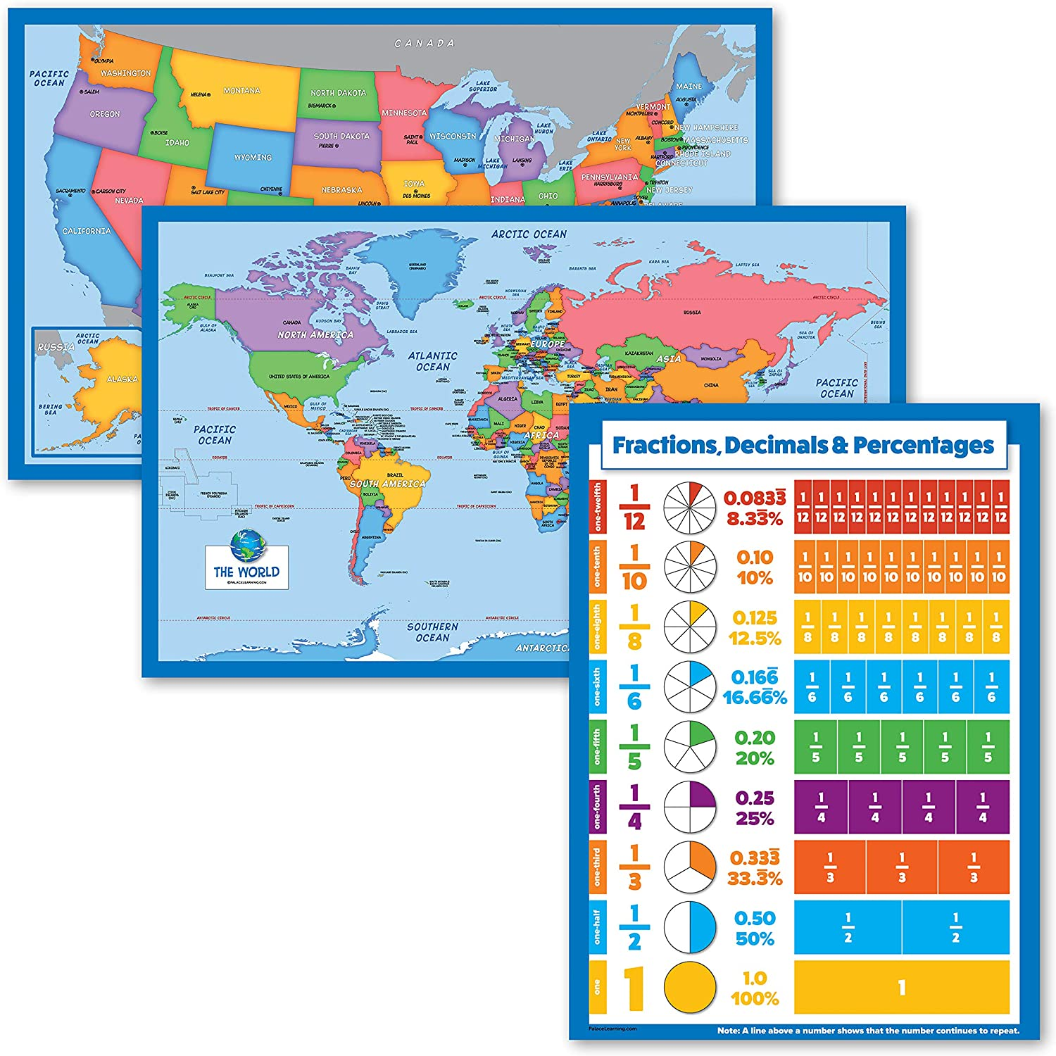 3 Pack - Sales results No. 1 World Map USA Fractions for Pe Kids Decimals + favorite
