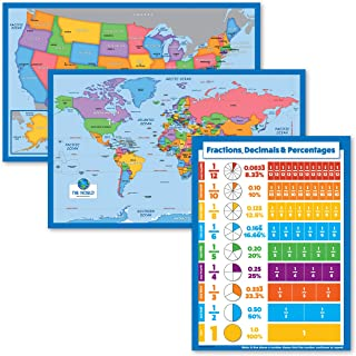 3 Pack - World Map & USA Map for Kids + Fractions, Decimals & Percentages Chart - 3 Educational Posters for Kids (Laminate...