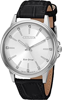 Citizen Women's 'Eco-Drive' Quartz Stainless Steel and Leather Casual Watch, Color:Black (Model: FE7030-14A)
