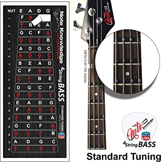 5-STRING BASS GUITAR LEFT HANDED FRETBOARD NOTE LABELS Learn Fret Stickers