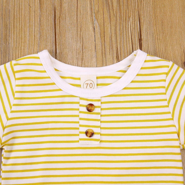 Newborn Infant Baby Cartoon Animal Striped Summer Clothes Girl Boy T-Shirt Top Pants 2Pcs Outfit Set