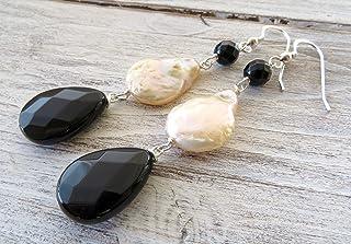 Orecchini con perle rosa barocche e onice nero, pendenti lunghi in argento 925, gioielli pietre dure, bijoux contemporanei...