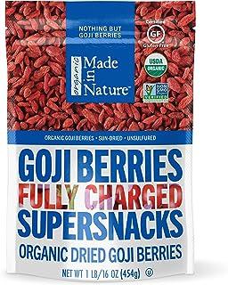 Made in Nature Organic Dried Fruit, Goji Berries, 16oz Bag – Vegan, Non-GMO, Unsulfured, Antioxidant Rich Supersnack