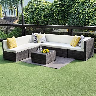 Wisteria Lane Outdoor Patio Furniture Sofa Set, 7 PCS Outdoor Wicker Sectional Sofa Seating, Grey Wicker with Ivory Cushion