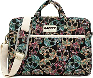 DACHEE Gothic Skull Pattern 15 inch Canvas Waterproof Laptop Shoulder Messenger Bag for 14 inch to15.6 inch Laptop 15 Laptop Case