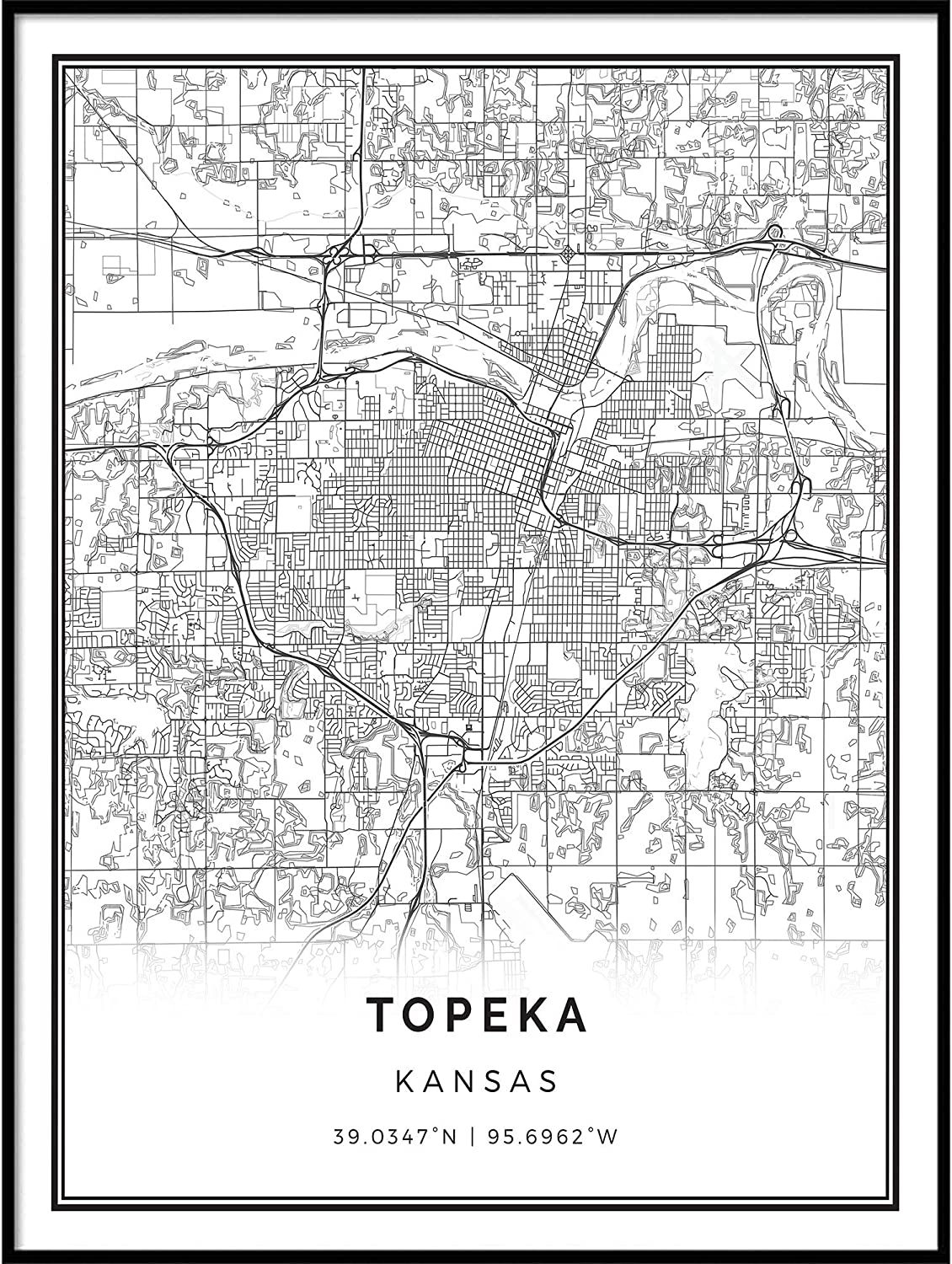 Squareious Topeka map Poster Credence Today's only Print and Modern White Black Wall