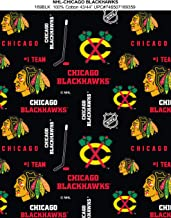 Chicago Blackhawks Cotton Fabric with All Over Pattern-Sold by The Yard