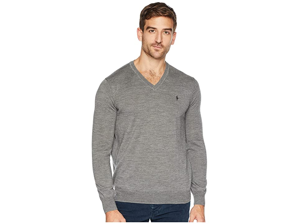Polo Ralph Lauren Washable Merino V-Neck Sweater (Fawn Grey Heather) Men