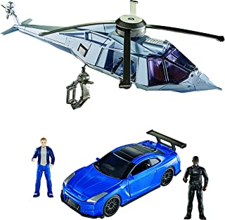 Mattel Fast & Furious 8 Extreme Stunt Stars Nissan GT-R Vehicle, Helicopter & 2 Figures Vehicle