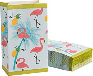 Flamingo Party Bags - 36-Pack Small Paper Gift Bags for Party Favors, Tropical Summer Themed Birthday Party Supplies, Flamingo, Pineapple, and Palm Trees Print Kids Goodie Bags