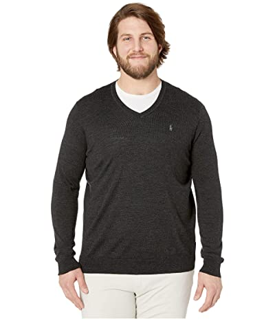 Polo Ralph Lauren Big & Tall Washable Merino Wool V-Neck Sweater (Dark Granite Heather) Men