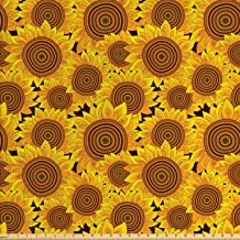 Lunarable Sunflower Fabric by The Yard, Flowers Garden Meadow Idyllic Harvest Theme Autumn Pattern, Decorative Fabric for Upholstery and Home Accents, 3 Yards, Yellow Marigold